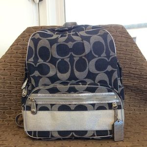 Coach Backpack Denim and Silver
